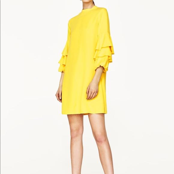 NWT Zara Yellow Frilled Tiered Sleeve Mini Dress 5eead1b71